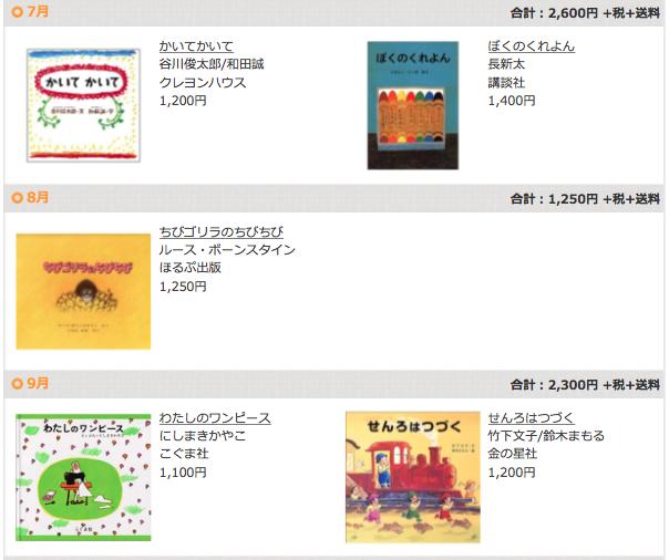 絵本の定期購読クレヨンハウスのブッククラブ2歳児コース7〜9月