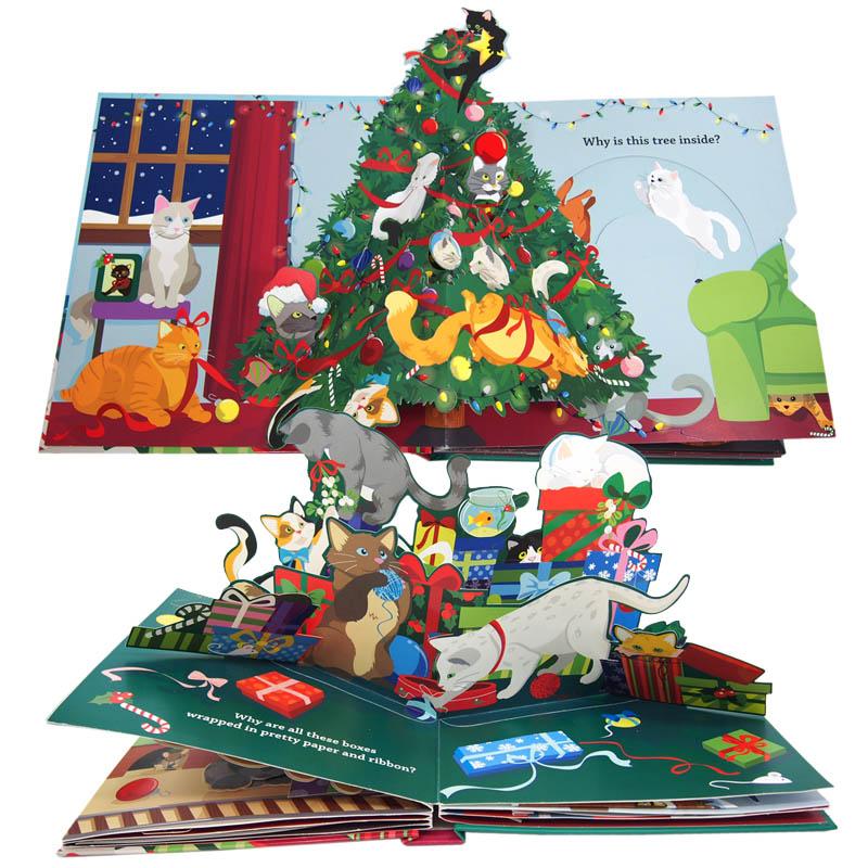 猫とクリスマスの飛び出す仕掛け絵本