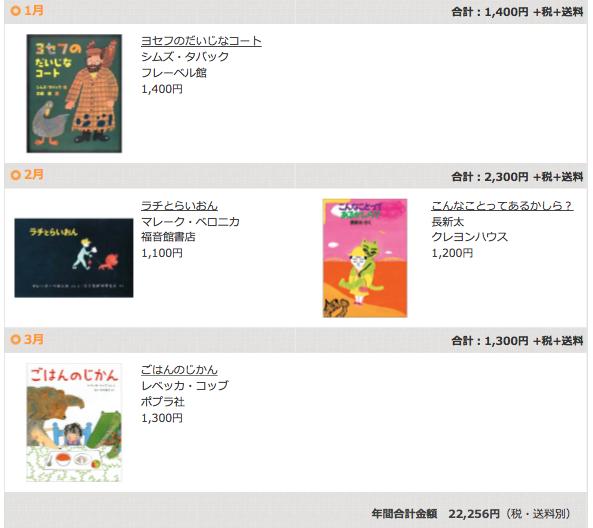 絵本の定期購読クレヨンハウスのブッククラブ4歳児コース1〜3月
