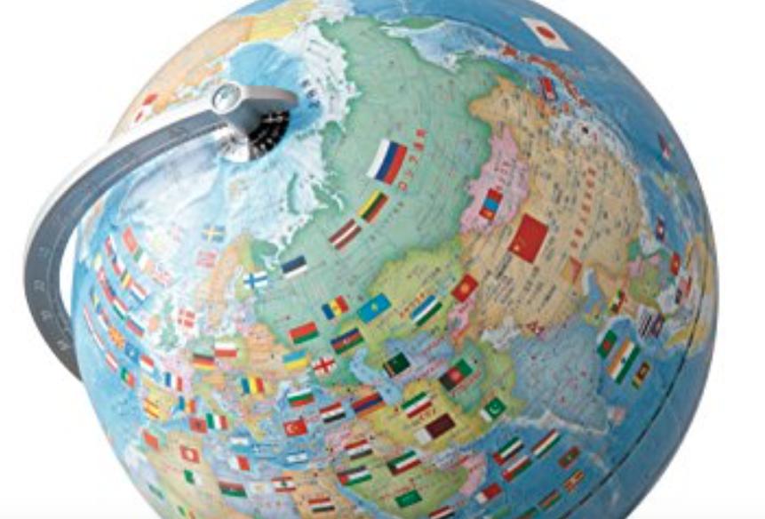 国旗イラスト付き地球儀